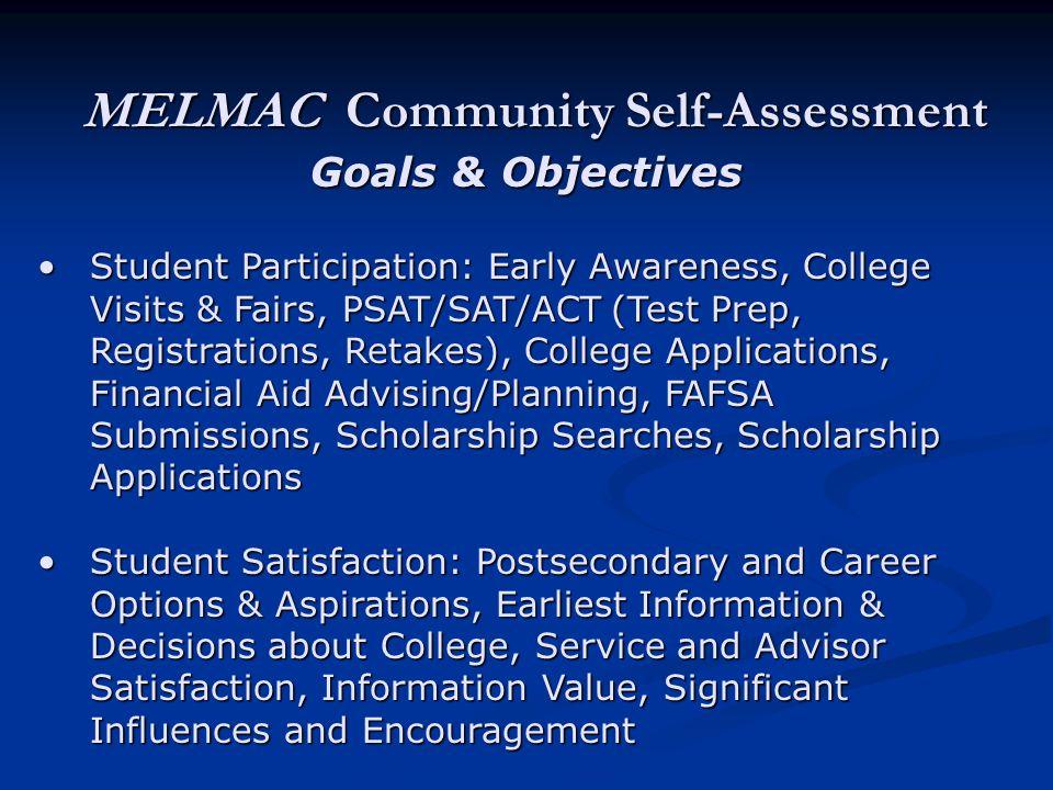MELMAC Community Self-Assessment Goals & Objectives Student Participation: Early Awareness, College Visits & Fairs, PSAT/SAT/ACT (Test Prep, Registrat
