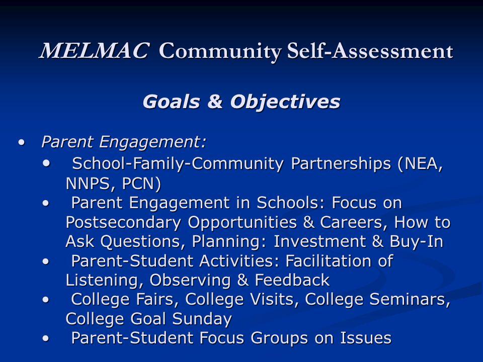 MELMAC Community Self-Assessment Goals & Objectives Parent Engagement:Parent Engagement: School-Family-Community Partnerships (NEA, NNPS, PCN) School-