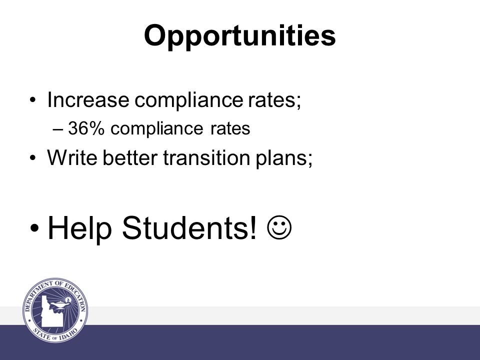Opportunities Increase compliance rates; –36% compliance rates Write better transition plans; Help Students!