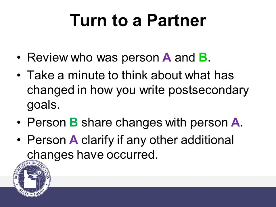 Turn to a Partner Review who was person A and B.
