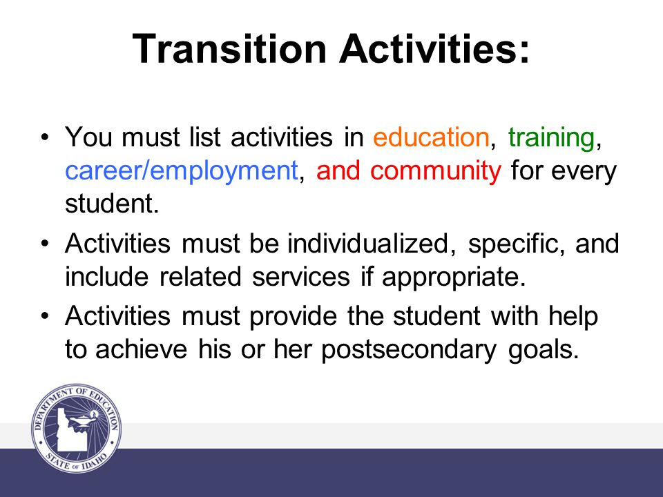 Transition Activities: You must list activities in education, training, career/employment, and community for every student.
