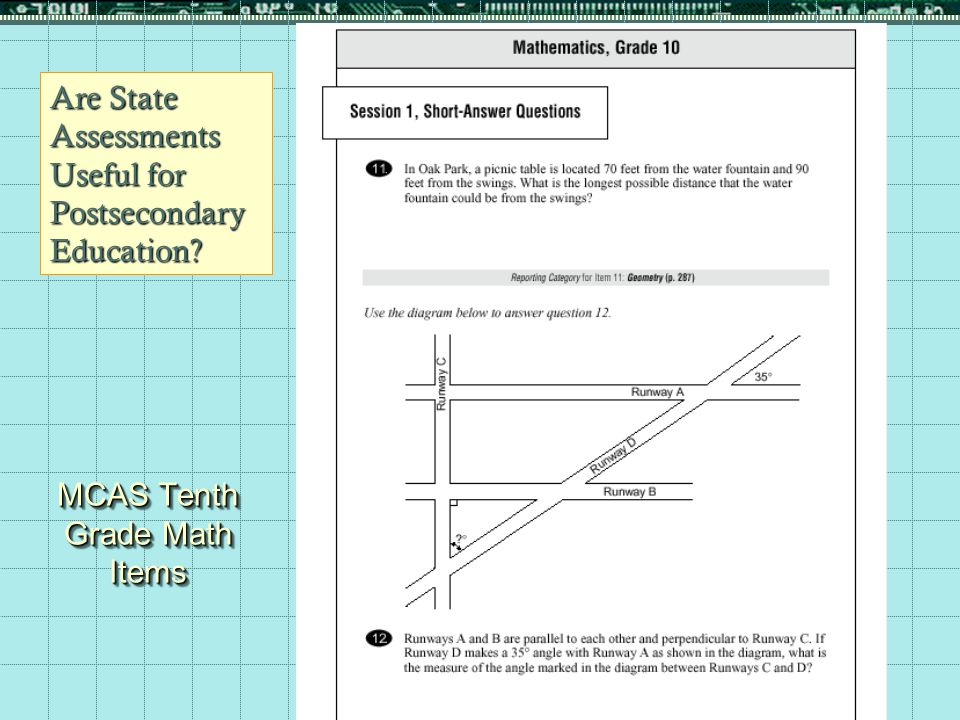 10 MCAS Tenth Grade Math Items Are State Assessments Useful for Postsecondary Education?