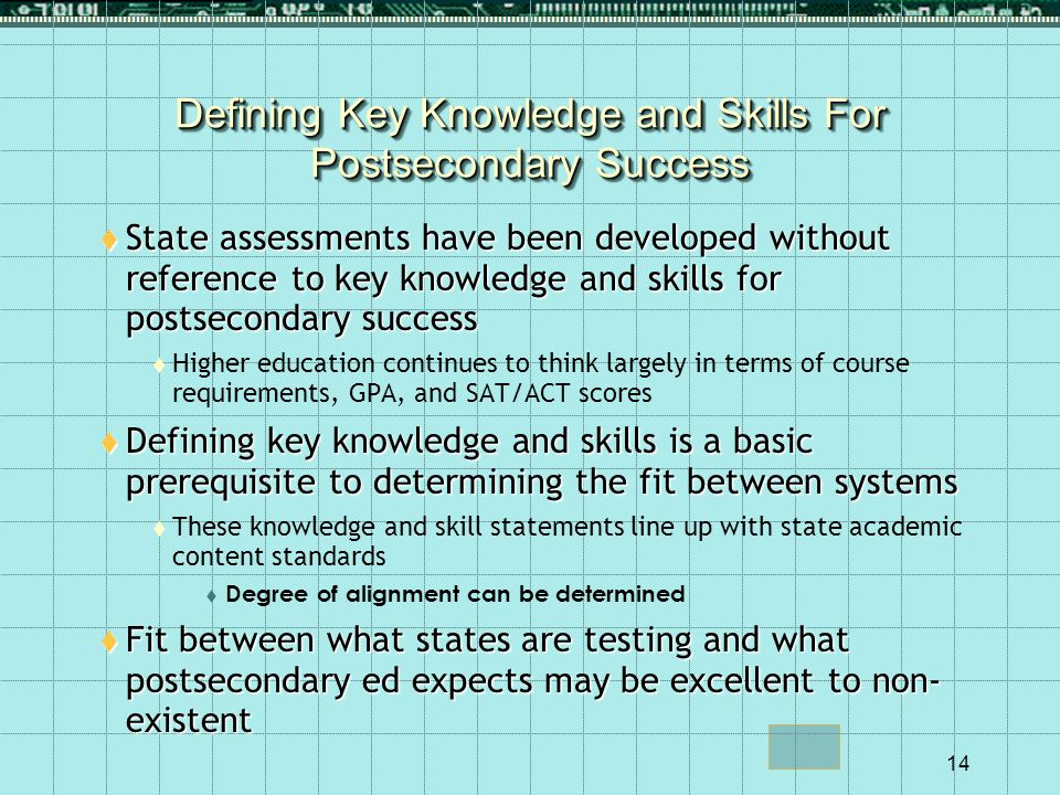 14 Defining Key Knowledge and Skills For Postsecondary Success  State assessments have been developed without reference to key knowledge and skills for postsecondary success  Higher education continues to think largely in terms of course requirements, GPA, and SAT/ACT scores  Defining key knowledge and skills is a basic prerequisite to determining the fit between systems  These knowledge and skill statements line up with state academic content standards  Degree of alignment can be determined  Fit between what states are testing and what postsecondary ed expects may be excellent to non- existent