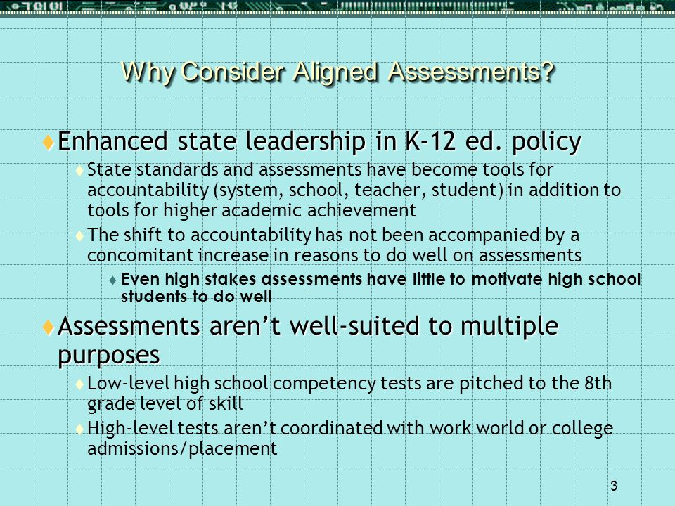 3 Why Consider Aligned Assessments. Enhanced state leadership in K-12 ed.