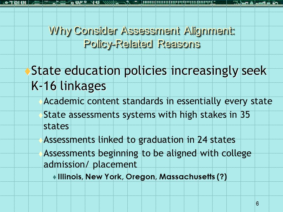 6 Why Consider Assessment Alignment: Policy-Related Reasons  State education policies increasingly seek K-16 linkages  Academic content standards in essentially every state  State assessments systems with high stakes in 35 states  Assessments linked to graduation in 24 states  Assessments beginning to be aligned with college admission/ placement  Illinois, New York, Oregon, Massachusetts (?)