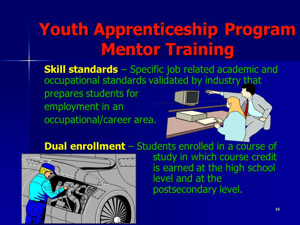 10 Youth Apprenticeship Program Mentor Training Skill standards – Specific job related academic and occupational standards validated by industry that prepares students for employment in an occupational/career area.