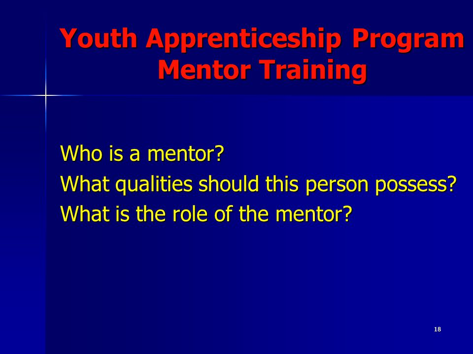 18 Youth Apprenticeship Program Mentor Training Who is a mentor? What qualities should this person possess? What is the role of the mentor?