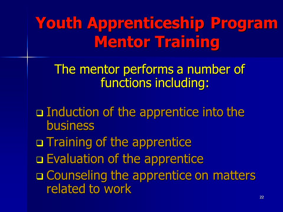 22 Youth Apprenticeship Program Mentor Training The mentor performs a number of functions including:  Induction of the apprentice into the business 