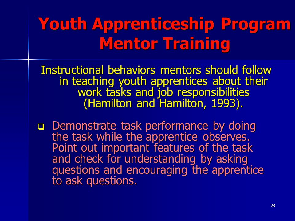 23 Youth Apprenticeship Program Mentor Training Instructional behaviors mentors should follow in teaching youth apprentices about their work tasks and job responsibilities (Hamilton and Hamilton, 1993).