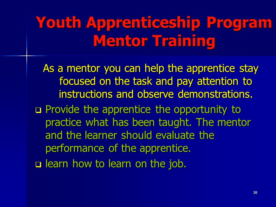 30 Youth Apprenticeship Program Mentor Training As a mentor you can help the apprentice stay focused on the task and pay attention to instructions and