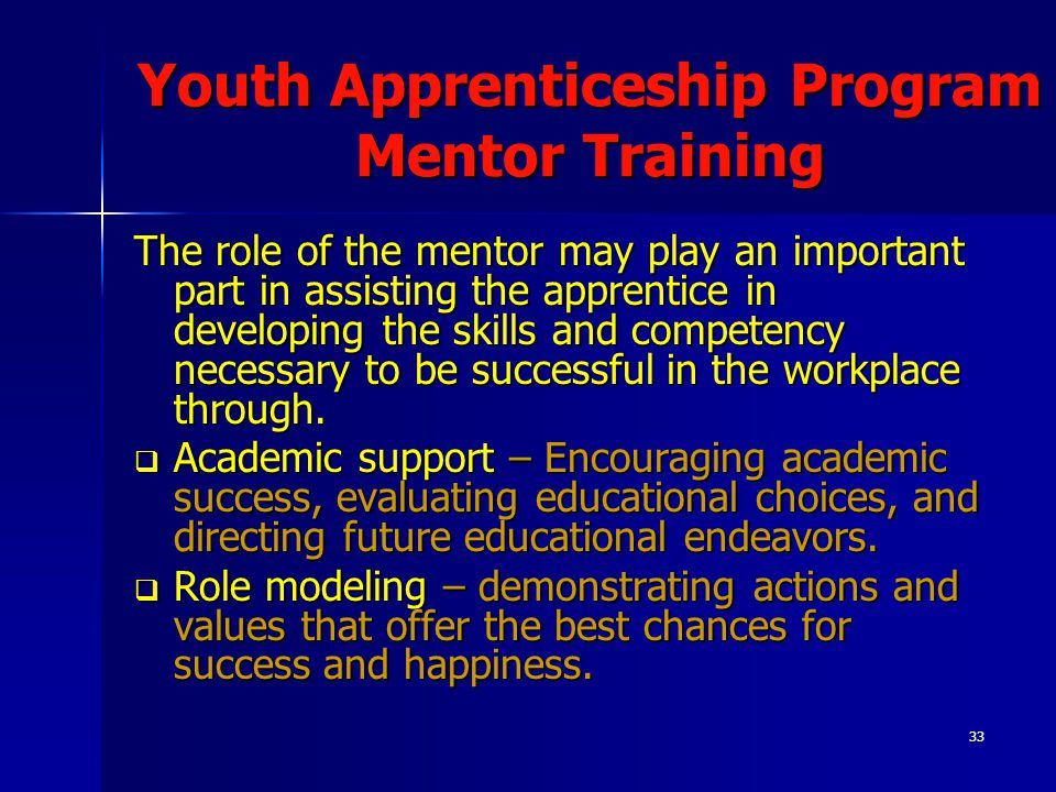 33 Youth Apprenticeship Program Mentor Training The role of the mentor may play an important part in assisting the apprentice in developing the skills and competency necessary to be successful in the workplace through.