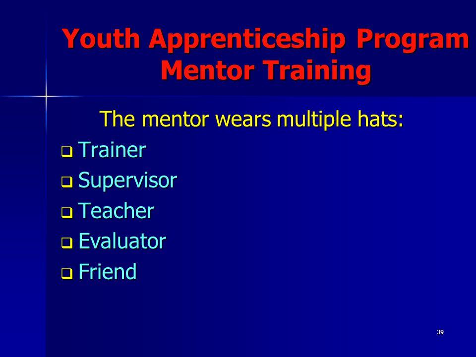 39 Youth Apprenticeship Program Mentor Training The mentor wears multiple hats:  Trainer  Supervisor  Teacher  Evaluator  Friend