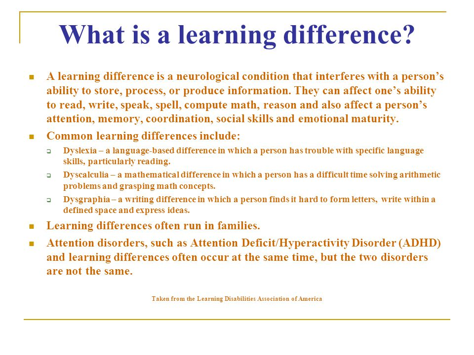 What is a learning difference.