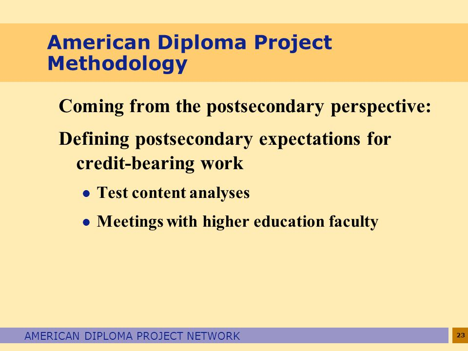 23 AMERICAN DIPLOMA PROJECT NETWORK American Diploma Project Methodology Coming from the postsecondary perspective: Defining postsecondary expectations for credit-bearing work l Test content analyses l Meetings with higher education faculty