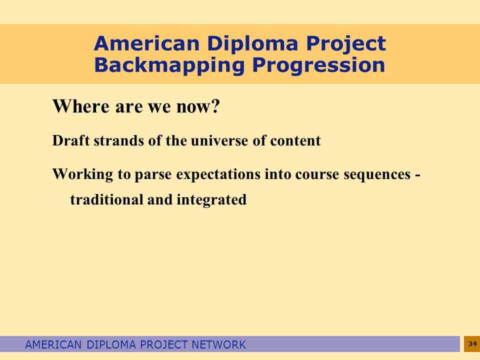 34 AMERICAN DIPLOMA PROJECT NETWORK American Diploma Project Backmapping Progression Where are we now.