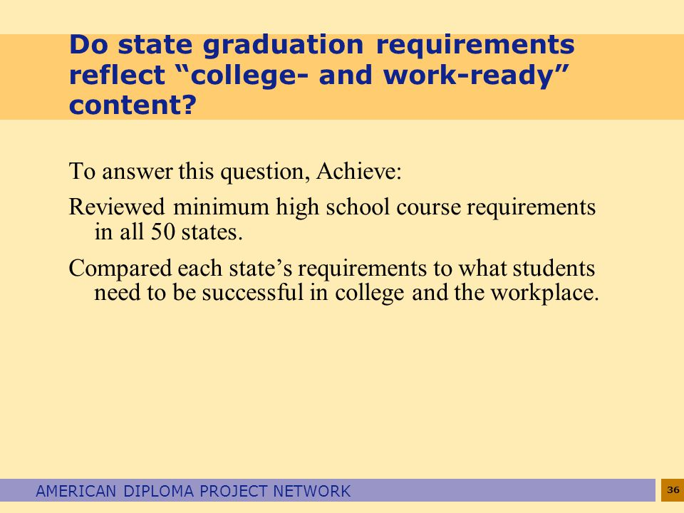 36 AMERICAN DIPLOMA PROJECT NETWORK Do state graduation requirements reflect college- and work-ready content.