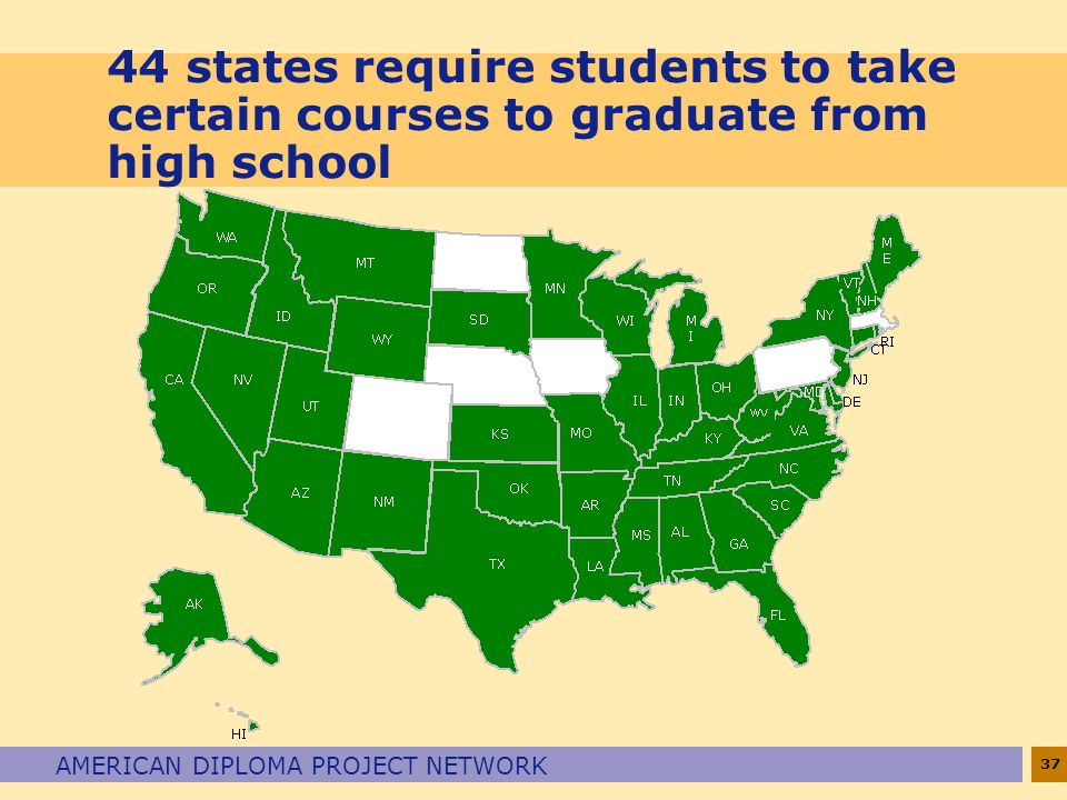 37 AMERICAN DIPLOMA PROJECT NETWORK 44 states require students to take certain courses to graduate from high school