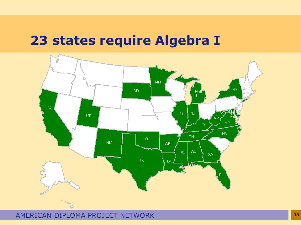 38 AMERICAN DIPLOMA PROJECT NETWORK 23 states require Algebra I