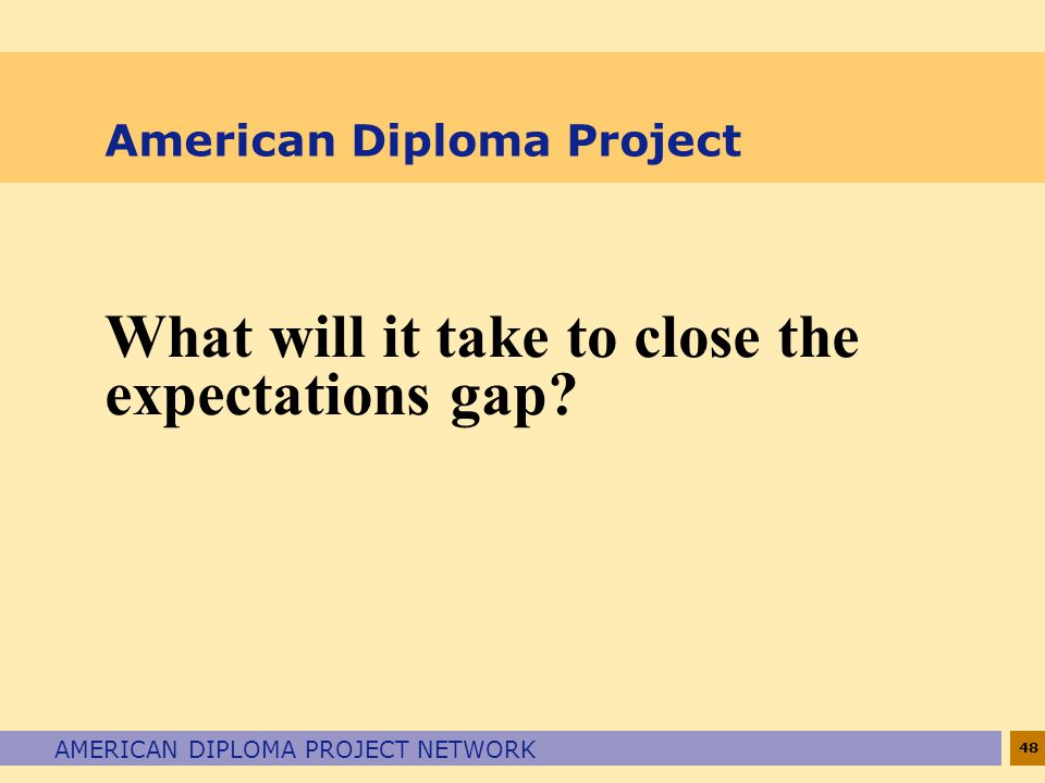 48 AMERICAN DIPLOMA PROJECT NETWORK American Diploma Project What will it take to close the expectations gap