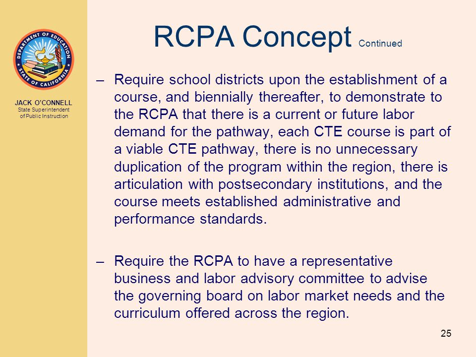 JACK O'CONNELL State Superintendent of Public Instruction 25 RCPA Concept Continued –Require school districts upon the establishment of a course, and biennially thereafter, to demonstrate to the RCPA that there is a current or future labor demand for the pathway, each CTE course is part of a viable CTE pathway, there is no unnecessary duplication of the program within the region, there is articulation with postsecondary institutions, and the course meets established administrative and performance standards.