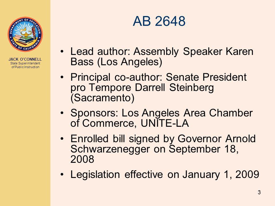 3 AB 2648 Lead author: Assembly Speaker Karen Bass (Los Angeles) Principal co-author: Senate President pro Tempore Darrell Steinberg (Sacramento) Sponsors: Los Angeles Area Chamber of Commerce, UNITE-LA Enrolled bill signed by Governor Arnold Schwarzenegger on September 18, 2008 Legislation effective on January 1, 2009