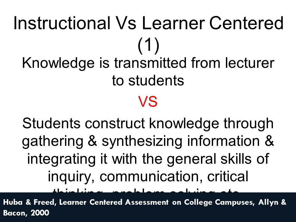 Instructional Vs Learner Centered (1) Knowledge is transmitted from lecturer to students VS Students construct knowledge through gathering & synthesiz