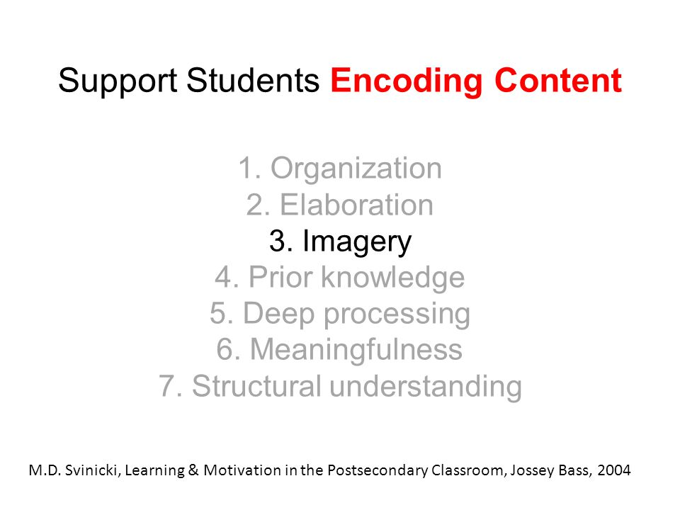 Support Students Encoding Content 1. Organization 2. Elaboration 3. Imagery 4. Prior knowledge 5. Deep processing 6. Meaningfulness 7. Structural unde
