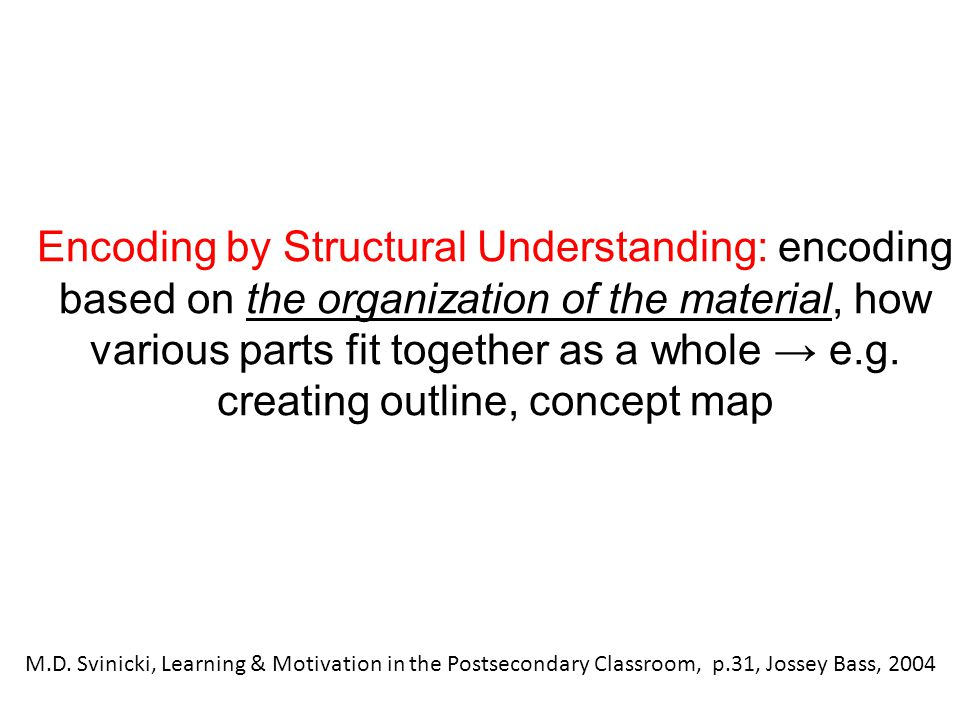 Encoding by Structural Understanding: encoding based on the organization of the material, how various parts fit together as a whole → e.g. creating ou