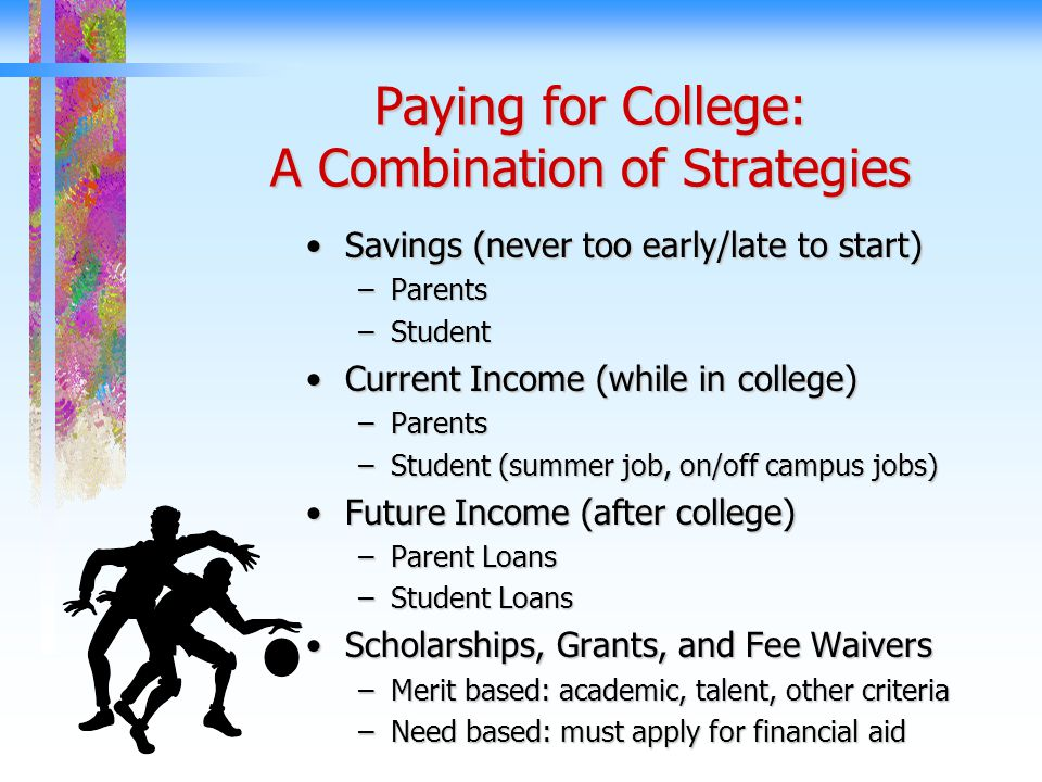 Paying for College: A Combination of Strategies Savings (never too early/late to start)Savings (never too early/late to start) –Parents –Student Current Income (while in college)Current Income (while in college) –Parents –Student (summer job, on/off campus jobs) Future Income (after college)Future Income (after college) –Parent Loans –Student Loans Scholarships, Grants, and Fee WaiversScholarships, Grants, and Fee Waivers –Merit based: academic, talent, other criteria –Need based: must apply for financial aid