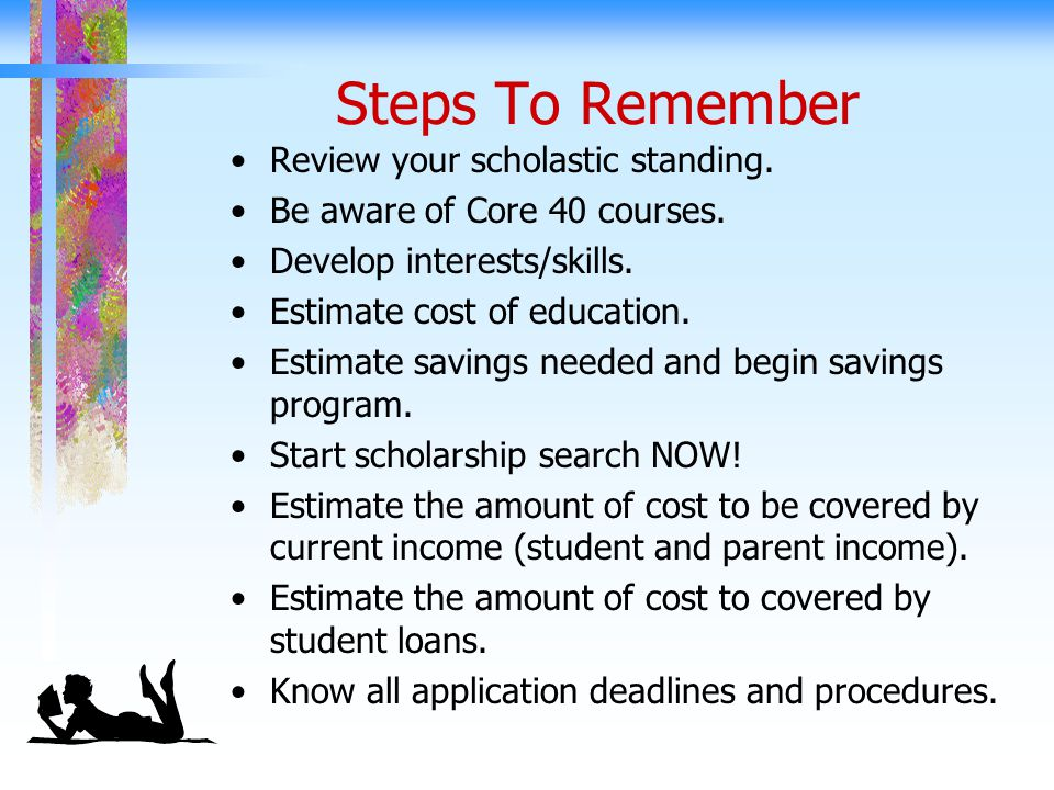 Steps To Remember Review your scholastic standing.