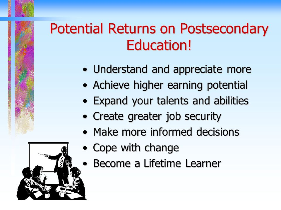 Potential Returns on Postsecondary Education.