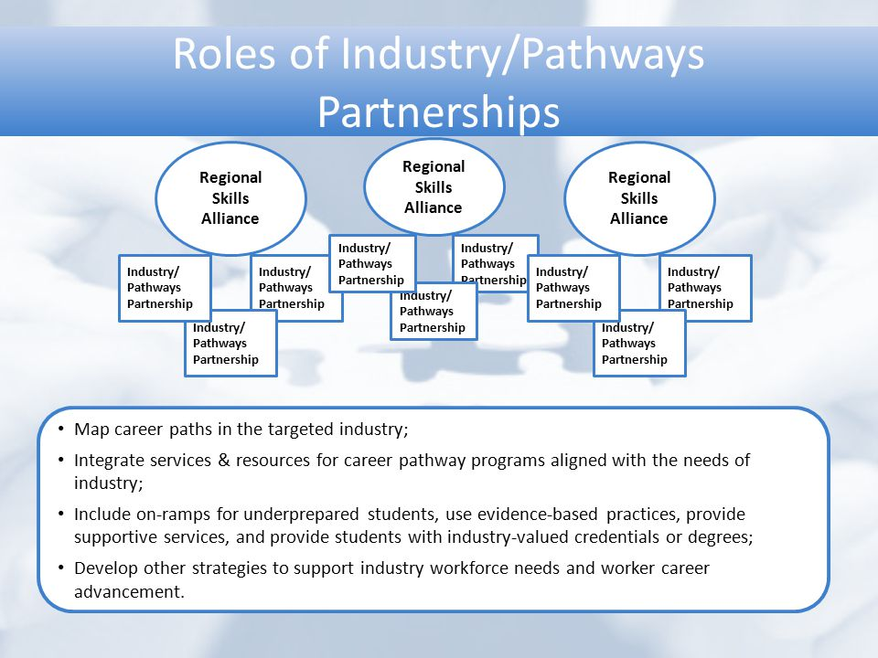 Roles of Industry/Pathways Partnerships Regional Skills Alliance Industry/ Pathways Partnership Industry/ Pathways Partnership Industry/ Pathways Part