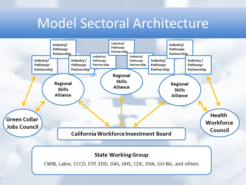 Model Sectoral Architecture Green Collar Jobs Council Health Workforce Council California Workforce Investment Board Regional Skills Alliance Industry