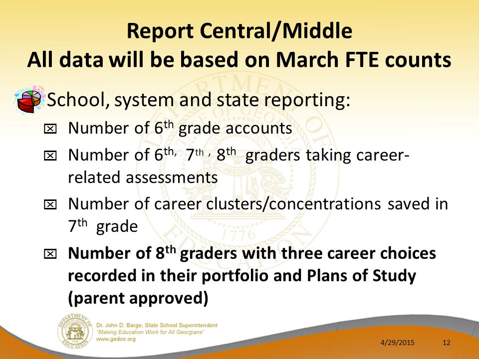 Report Central/Middle All data will be based on March FTE counts School, system and state reporting:  Number of 6 th grade accounts  Number of 6 th, 7 th, 8 th graders taking career- related assessments  Number of career clusters/concentrations saved in 7 th grade  Number of 8 th graders with three career choices recorded in their portfolio and Plans of Study (parent approved) 4/29/201512