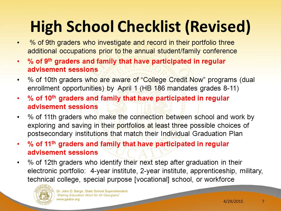 High School Checklist (Revised) % of 9th graders who investigate and record in their portfolio three additional occupations prior to the annual student/family conference % of 9 th graders and family that have participated in regular advisement sessions % of 10th graders who are aware of College Credit Now programs (dual enrollment opportunities) by April 1 (HB 186 mandates grades 8-11) % of 10 th graders and family that have participated in regular advisement sessions % of 11th graders who make the connection between school and work by exploring and saving in their portfolios at least three possible choices of postsecondary institutions that match their Individual Graduation Plan % of 11 th graders and family that have participated in regular advisement sessions % of 12th graders who identify their next step after graduation in their electronic portfolio: 4-year institute, 2-year institute, apprenticeship, military, technical college, special purpose [vocational] school, or workforce 4/29/20157