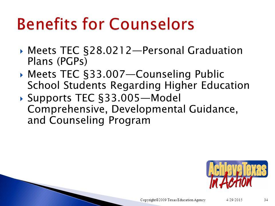  Meets TEC §28.0212—Personal Graduation Plans (PGPs)  Meets TEC §33.007—Counseling Public School Students Regarding Higher Education  Supports TEC