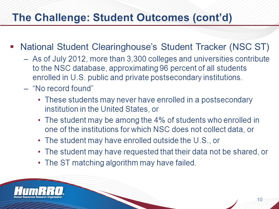 The Challenge: Student Outcomes (cont'd)  National Student Clearinghouse's Student Tracker (NSC ST) –As of July 2012, more than 3,300 colleges and universities contribute to the NSC database, approximating 96 percent of all students enrolled in U.S.