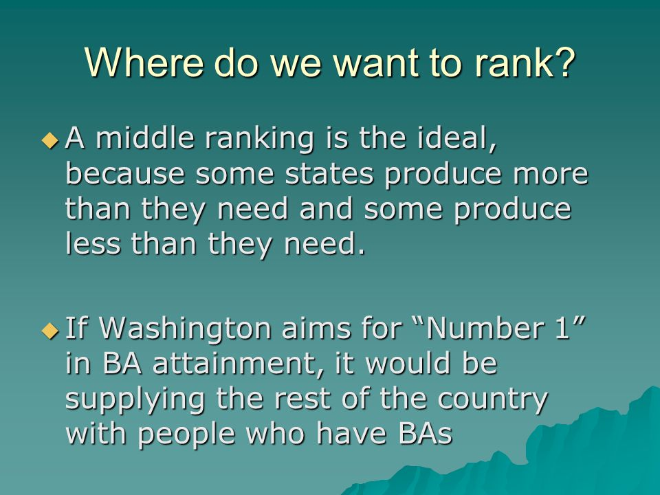 Where do we want to rank?  A middle ranking is the ideal, because some states produce more than they need and some produce less than they need.  If