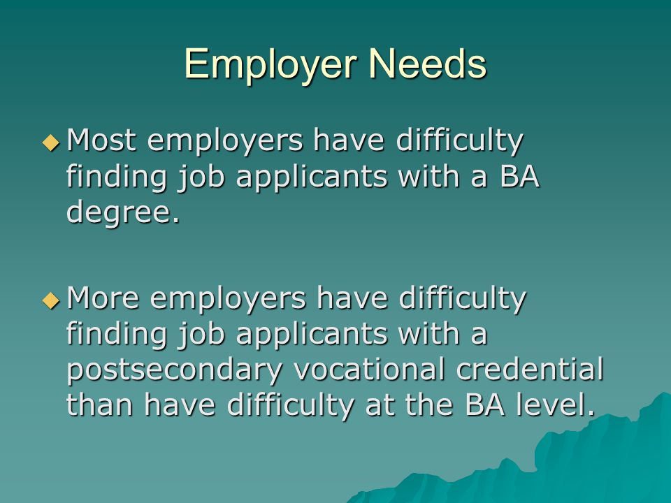 Employer Needs  Most employers have difficulty finding job applicants with a BA degree.