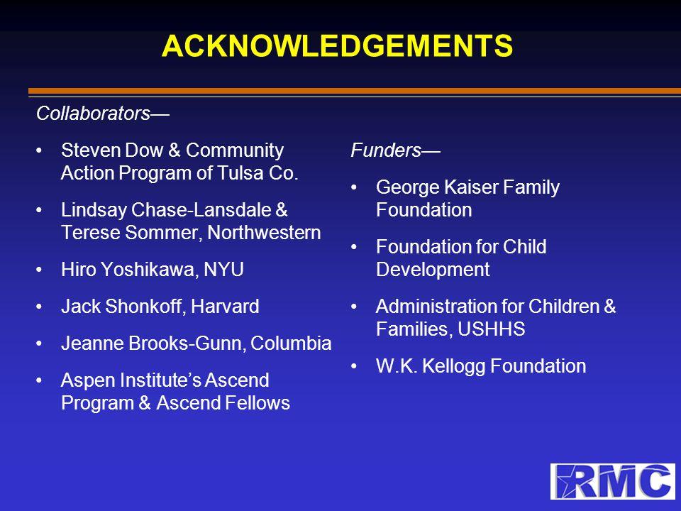 ACKNOWLEDGEMENTS Collaborators— Steven Dow & Community Action Program of Tulsa Co. Lindsay Chase-Lansdale & Terese Sommer, Northwestern Hiro Yoshikawa