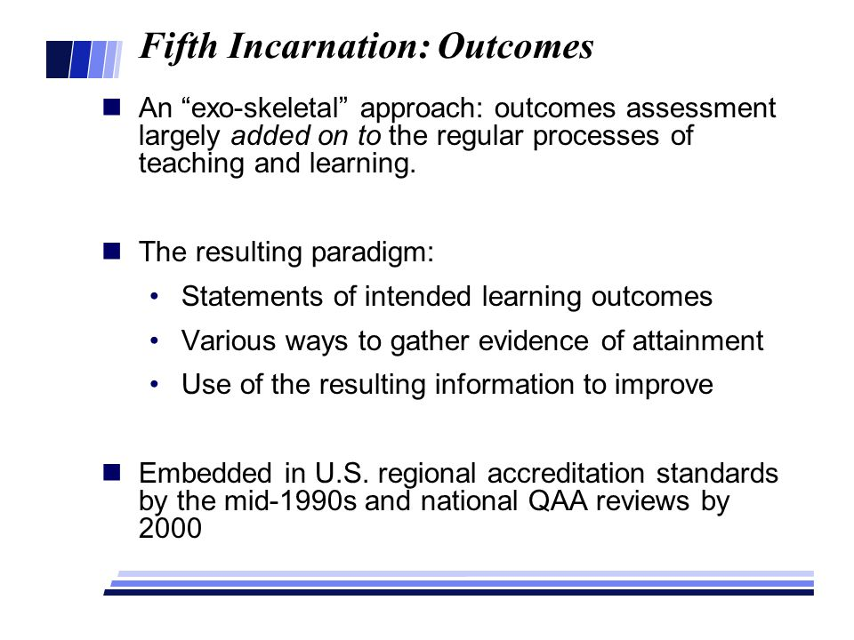 Fifth Incarnation: Outcomes An exo-skeletal approach: outcomes assessment largely added on to the regular processes of teaching and learning.