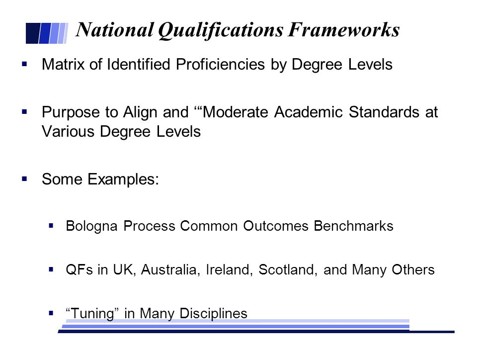 National Qualifications Frameworks  Matrix of Identified Proficiencies by Degree Levels  Purpose to Align and ' Moderate Academic Standards at Various Degree Levels  Some Examples:  Bologna Process Common Outcomes Benchmarks  QFs in UK, Australia, Ireland, Scotland, and Many Others  Tuning in Many Disciplines