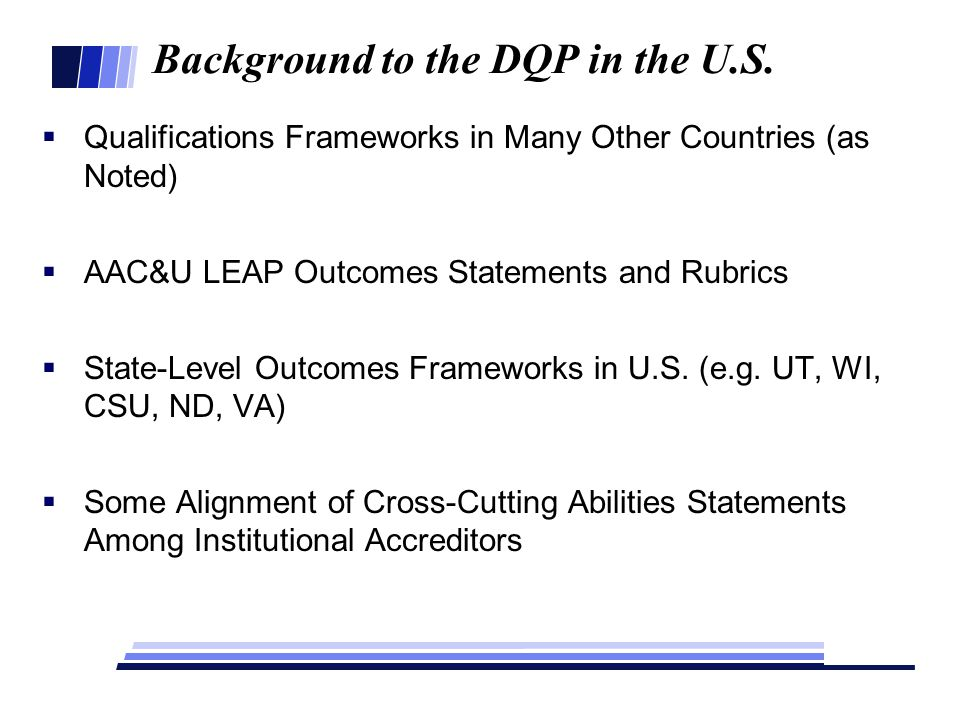 Background to the DQP in the U.S.