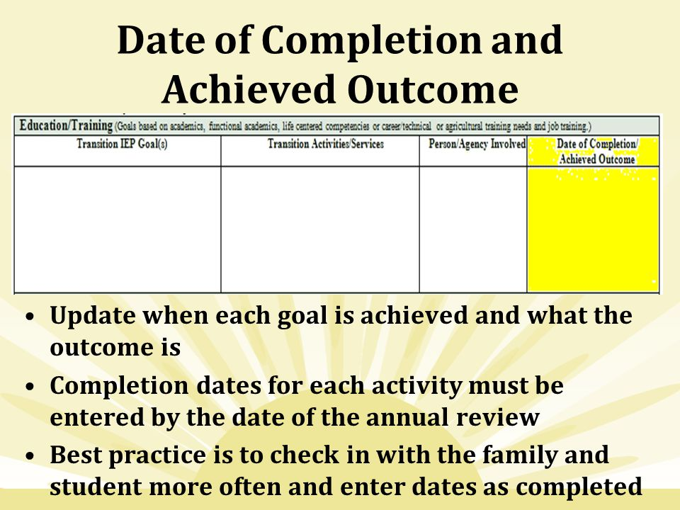 Date of Completion and Achieved Outcome Update when each goal is achieved and what the outcome is Completion dates for each activity must be entered by the date of the annual review Best practice is to check in with the family and student more often and enter dates as completed