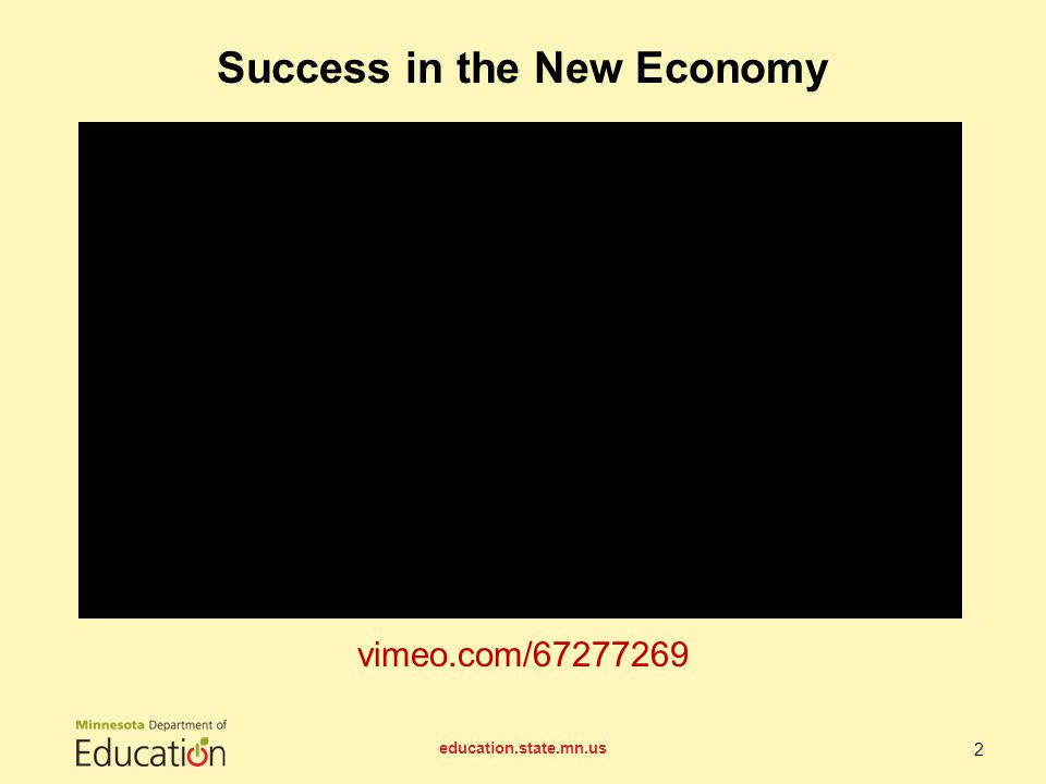 vimeo.com/67277269 Success in the New Economy education.state.mn.us 2