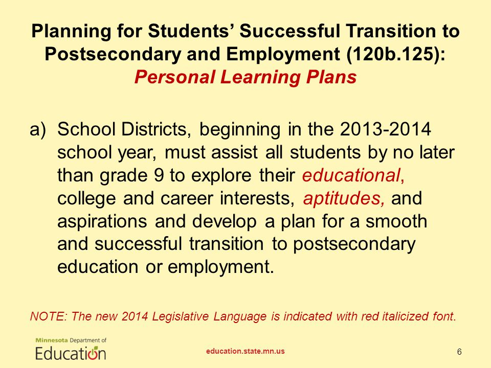 a)School Districts, beginning in the 2013-2014 school year, must assist all students by no later than grade 9 to explore their educational, college and career interests, aptitudes, and aspirations and develop a plan for a smooth and successful transition to postsecondary education or employment.