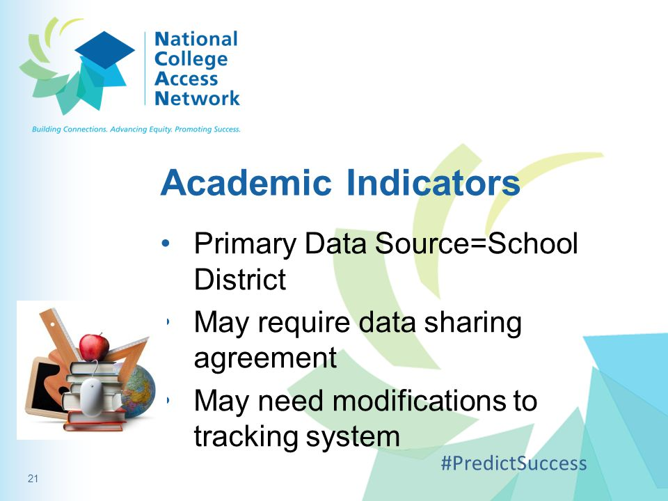 Academic Indicators Primary Data Source=School District May require data sharing agreement May need modifications to tracking system #PredictSuccess 21