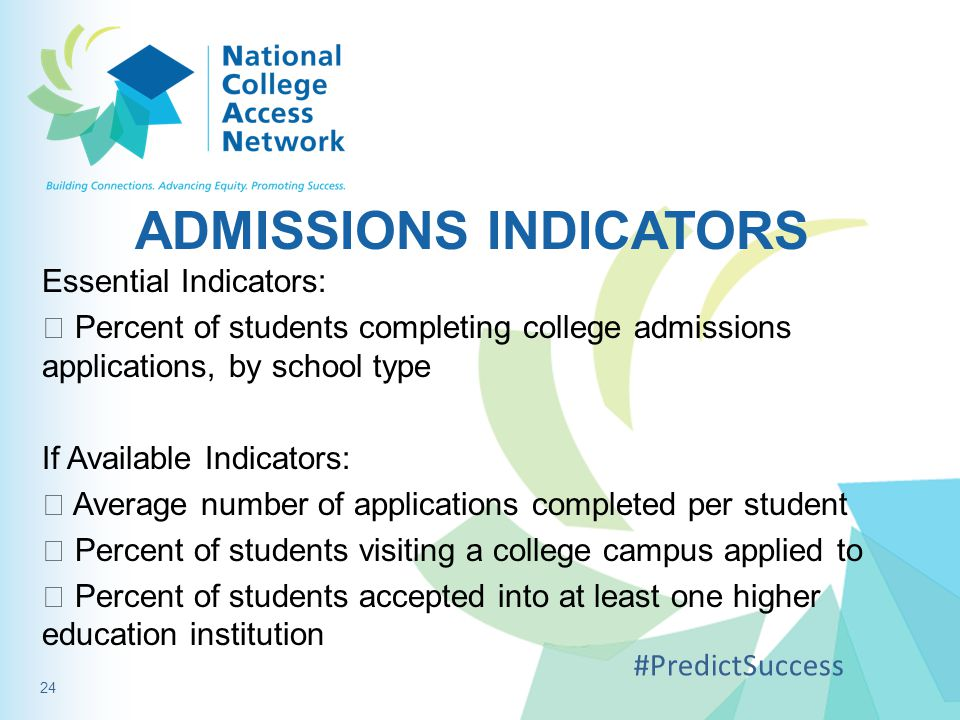 ADMISSIONS INDICATORS Essential Indicators:  Percent of students completing college admissions applications, by school type If Available Indicators: