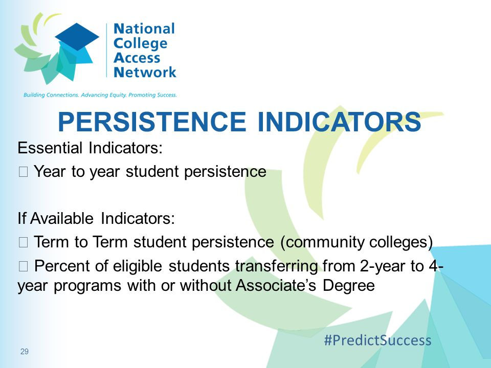 PERSISTENCE INDICATORS Essential Indicators:  Year to year student persistence If Available Indicators:  Term to Term student persistence (community