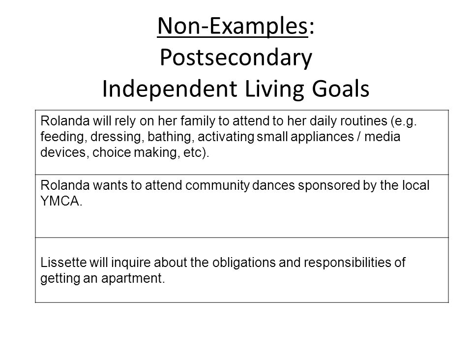 Non-Examples: Postsecondary Independent Living Goals Rolanda will rely on her family to attend to her daily routines (e.g. feeding, dressing, bathing,